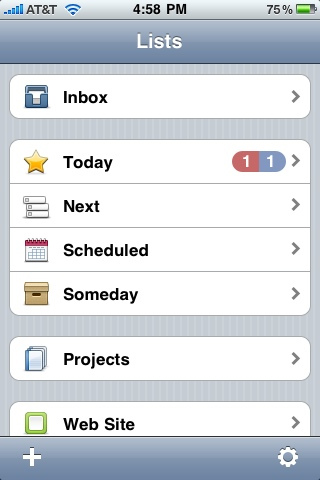 Things for iPhone - List Selection