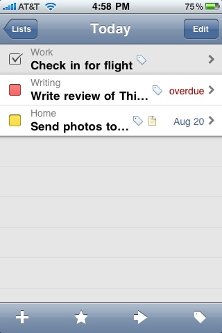 Things for iPhone - Today View