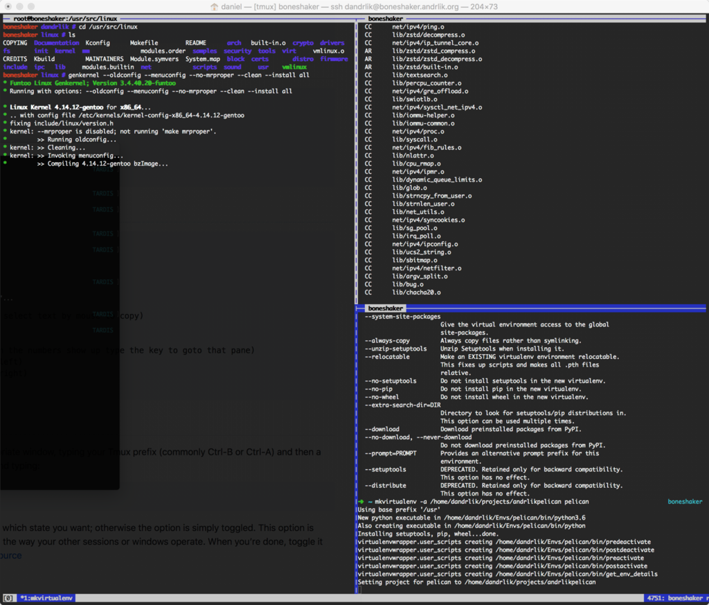 Compiling a kernel and setting up my virtualenvs in tmux